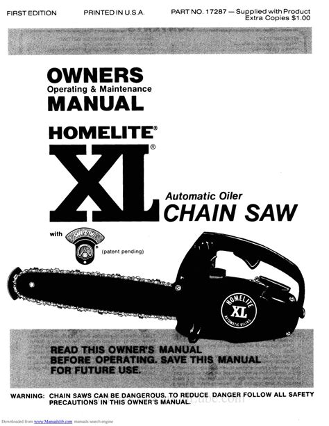 Homelite Xl 12 Chain Saw Owners Parts Service Manual