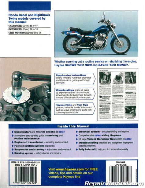 Honda CMX250 Rebel and CB250 Nighthawk Twins 1985-2009 (Haynes Service & Repair Manual)