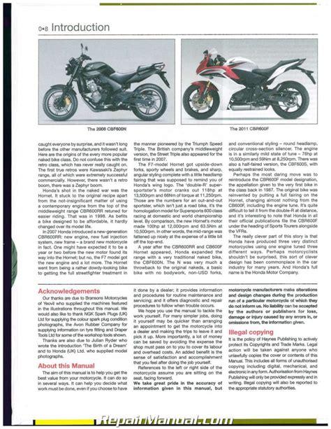 Honda Cb600f 2018 Hornet Repair Manual