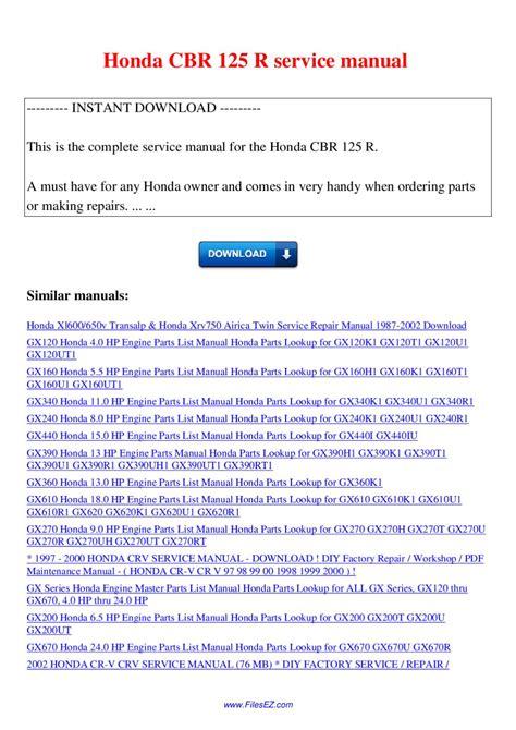 Honda Cbr 125r Service Manual