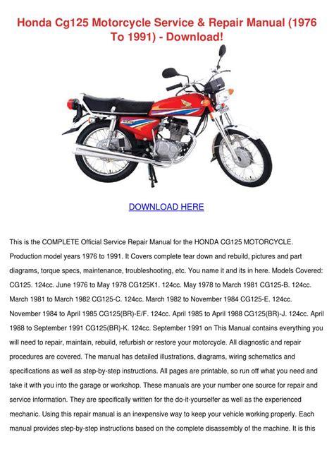 Honda Cg125 Workshop Repair Manual All 1976 1991 Models Covered