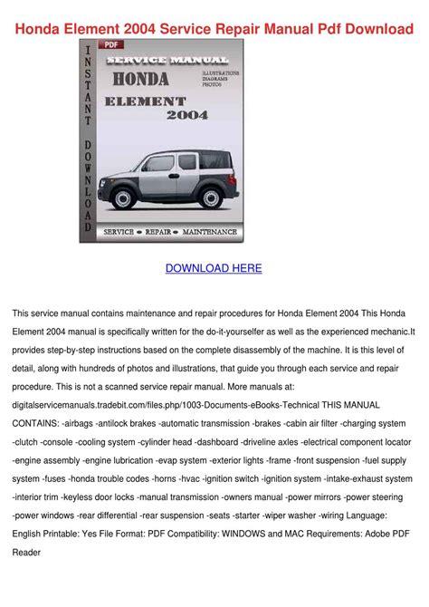 Honda Element 2004 Owners Manual