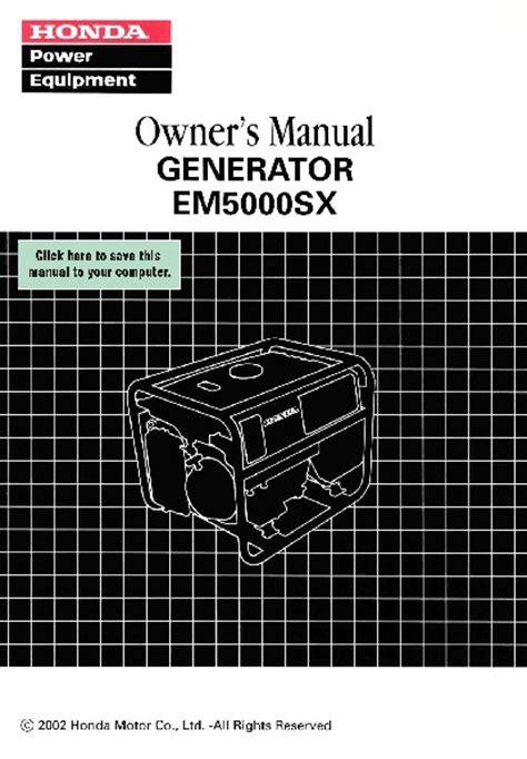 Honda Em5000sx Service Manual