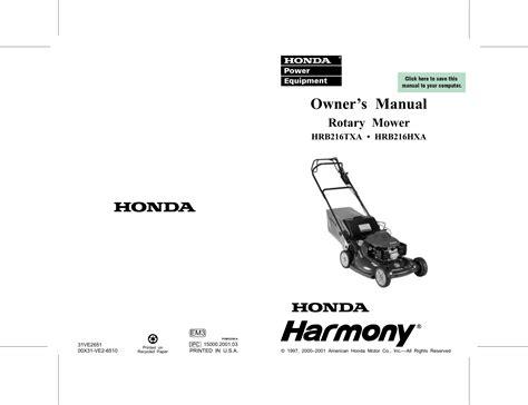 Honda Hrb216hxa Manual