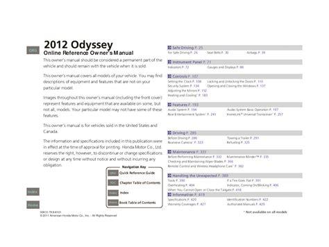 Honda Odyssey 2012 Manual