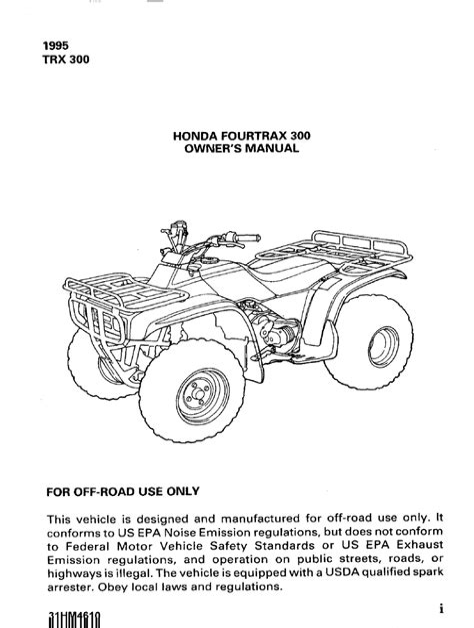Honda Trx 300 91 Service Manual