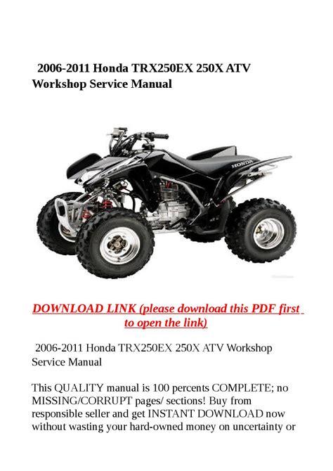 Honda Trx250 Ex 2011 Service Repair Manual