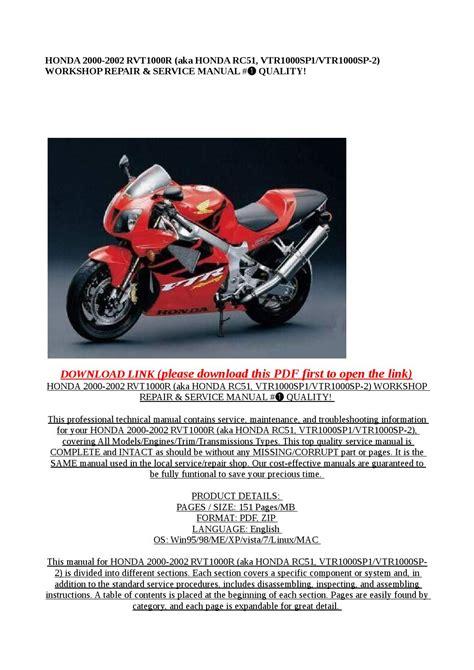 Honda Vtr1000sp Workshop Repair Manual All 2000 Onwards Models Covered