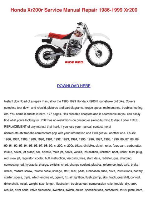 Honda Xr 200r Repair Manual