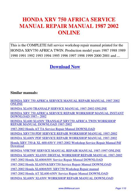 Honda Xrv 750 1987 2002 Service Repair Manual