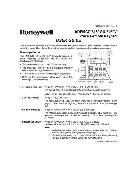 Honeywell 6150 User Manual