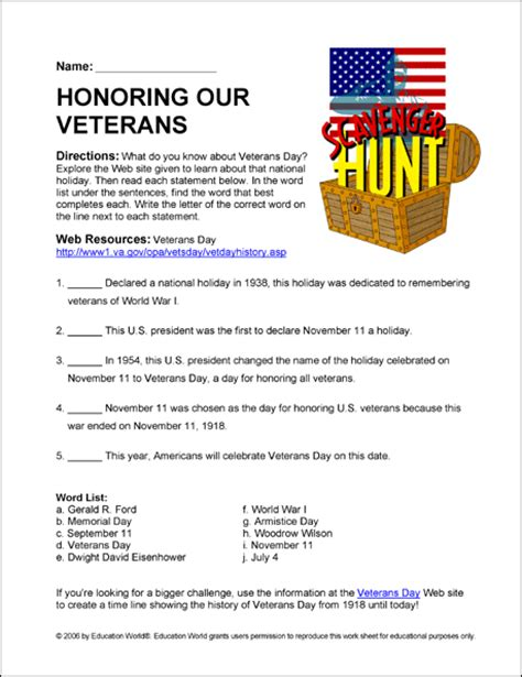 Honoring Our Veterans Scavenger Hunt Answers