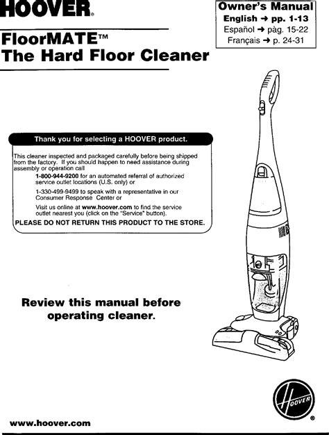 Hoover Floormate Model H3000 Manual