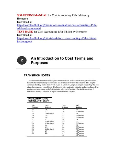 Horngren 9th Edition Solution Manual Cost Accounting