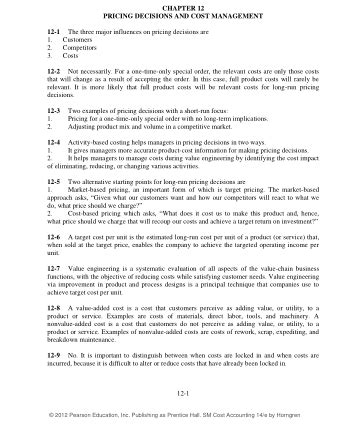 Horngren Cost Accounting 14e Solution Manual