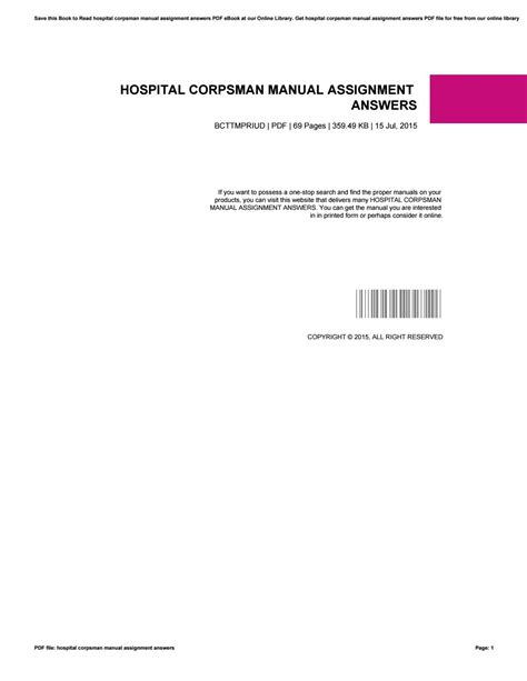 Hospital Corpsman Manual Assignment