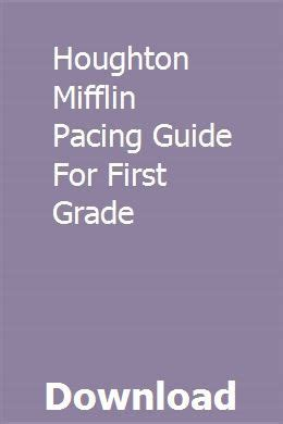 Houghton Mifflin Math Pacing Guide With Standards