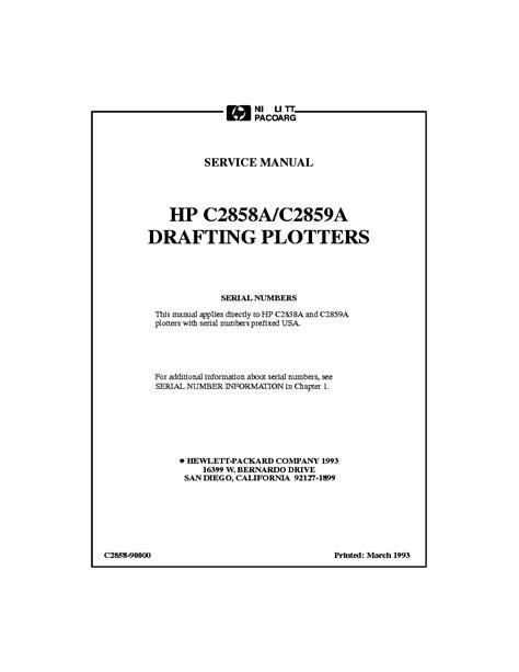 Hp C2858a And C2859a Design Jet 650c Plotter Service Manual
