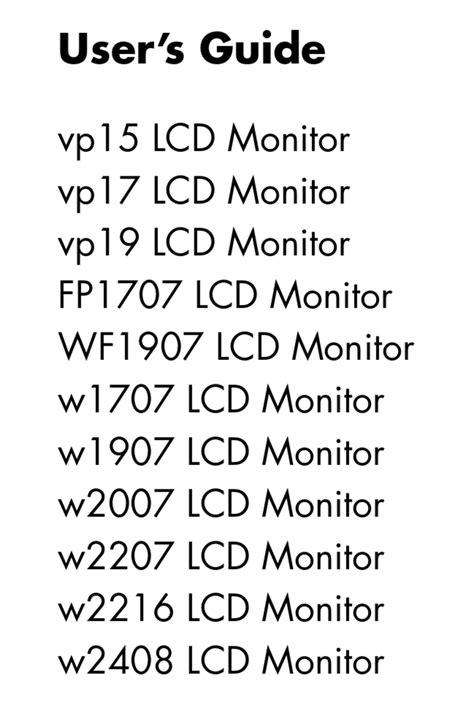 Hp W1707 Manual