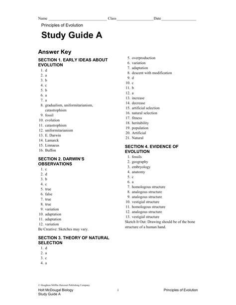 Human Biology Study Guide Answers
