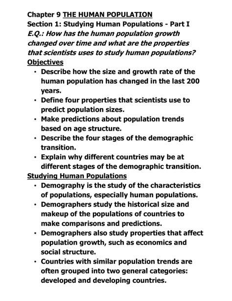 Human Population Study Guide