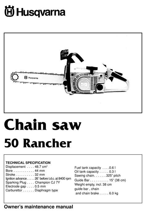 Husqvarna 50 Rancher Factory Service Workshop Manual