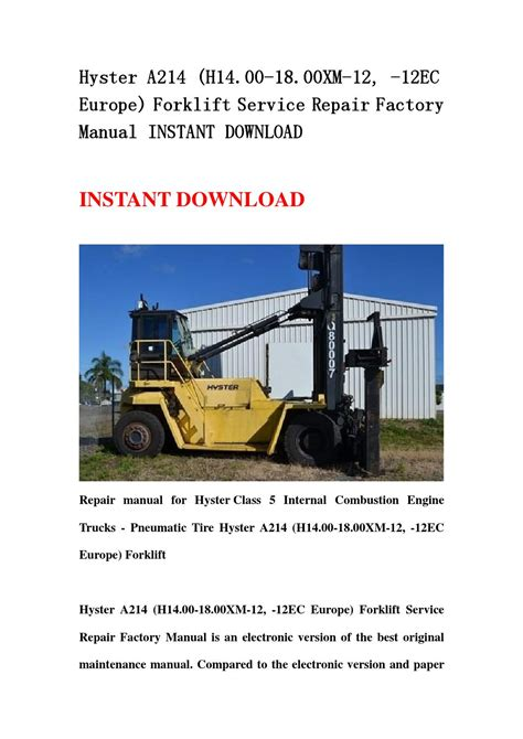 Hyster A214 H1400xm 12 Forklift Service Manual