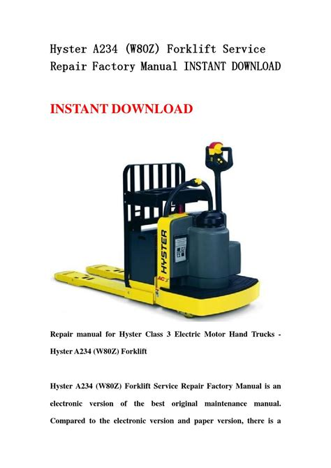 Hyster A234 W80z Forklift Service Repair Workshop Manual