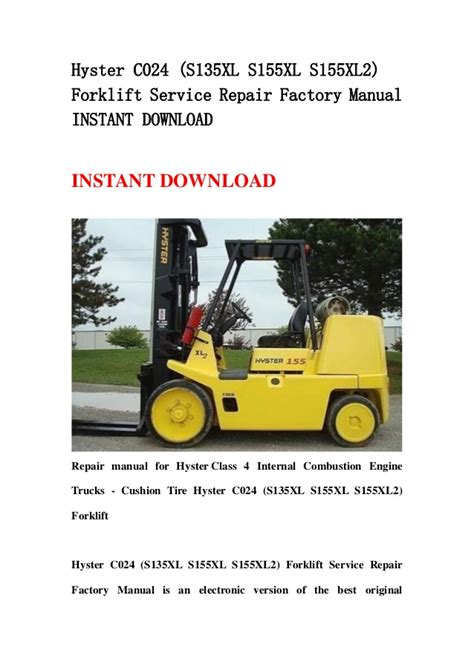 Hyster C024 S155xl2 Forklift Service Repair Manual