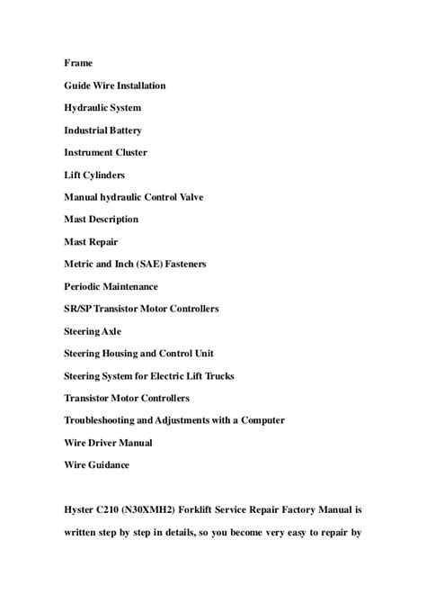 Hyster C210 N30xmh2 Forklift Service Repair Factory Manual