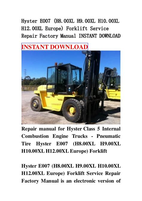 Hyster E007 H800xl Europe Forklift Service Manual