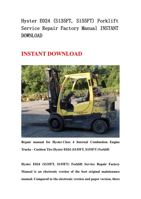 Hyster E024 S155ft Forklift Service Repair Manual