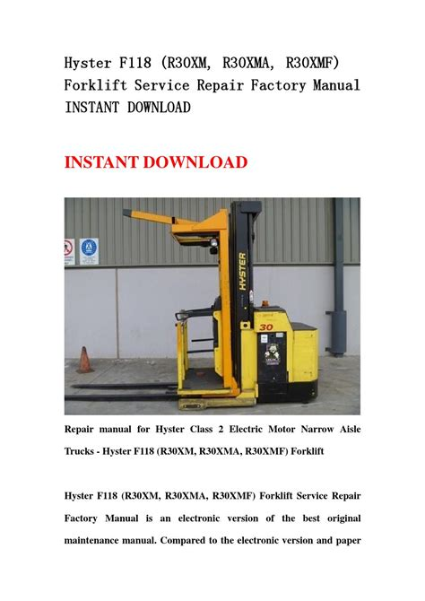 Hyster F118 R30xm R30xma R30xmf Forklift Parts Manual