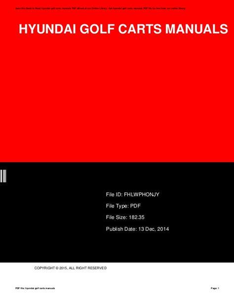 Hyundai Golf Cart Owners Manual