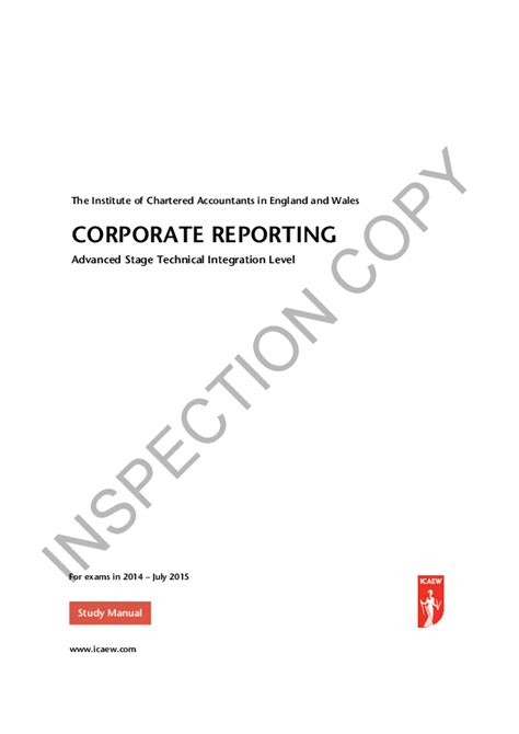Icaew Advance Stage Study Manual