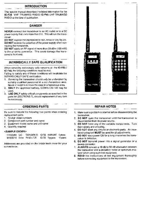 Icom Ic F35 Ic F45 Service Repair Manual