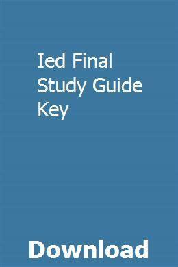 Ied Final Study Guide Key