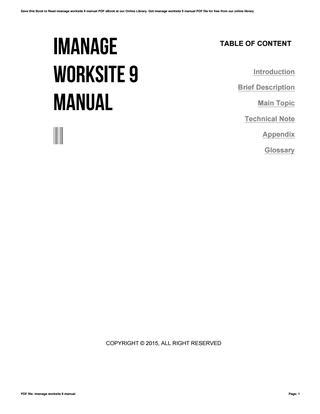 Imanage Worksite 9 Manual