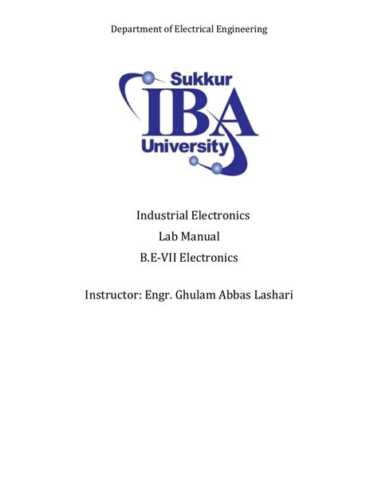 Industrial Electronics Lab Manual