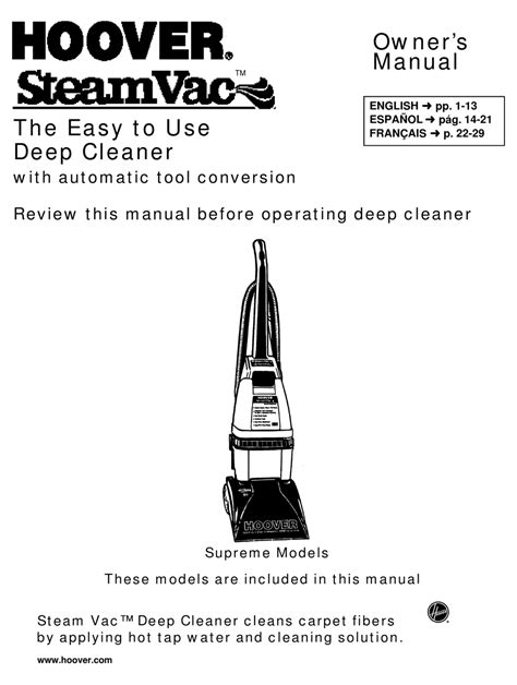 Instruction Manual Hoover Steamvac