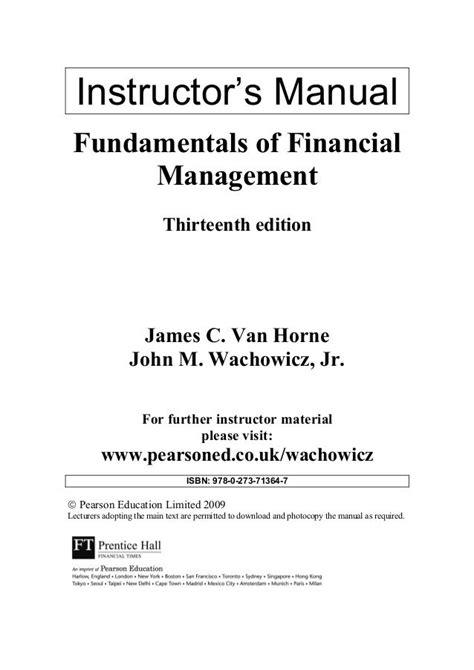 Instructors Manual Financial Management 13e