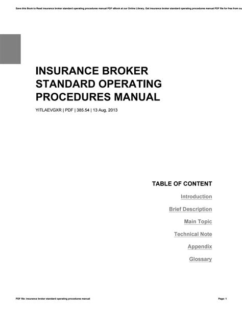 Insurance Broker Standard Operating Procedures Manual