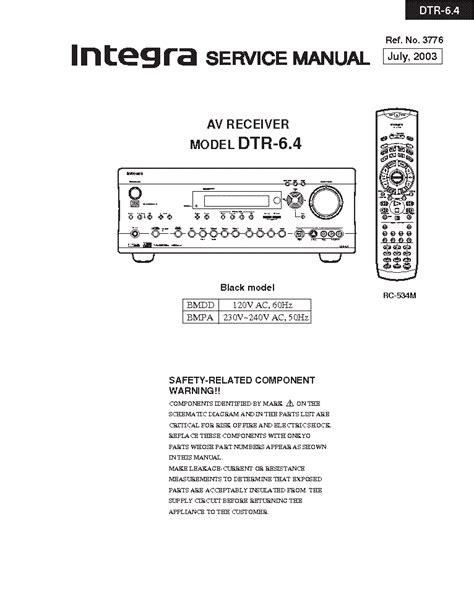 Integra Dtr 68 Av Receiver Service Manual