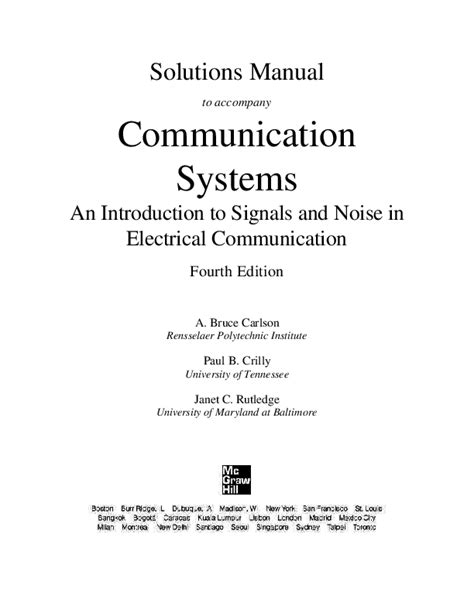 Introduction To Communication Systems Solution Manual