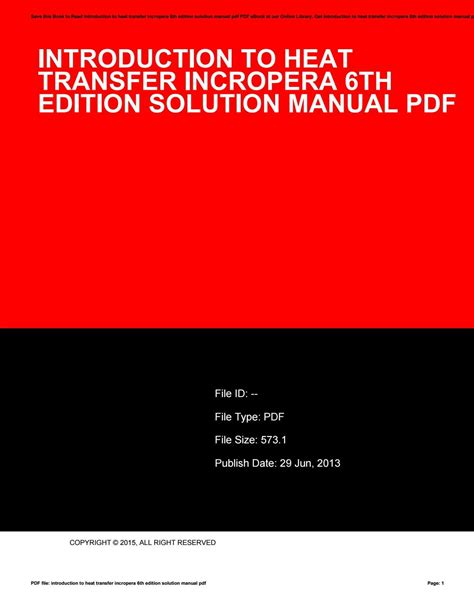 Introduction To Heat Transfer Solution Manual Incropera