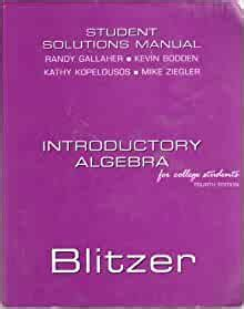 Introductory Algebra For College Students 4th Edition Student Solutions Manual Icludes Answers To Exercises Chapter Tests