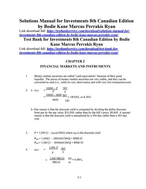 Investments Bodie Kane Marcus 8th Solutions Manual