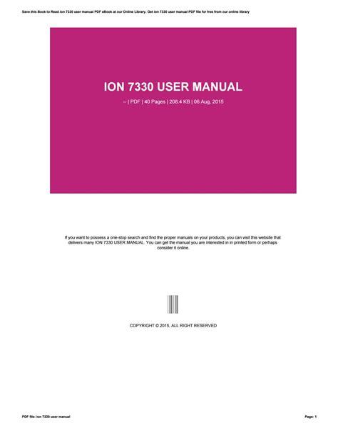 Ion 7330 User Manual