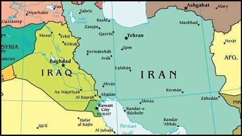 Iraq, Iran & Kuwait World Map