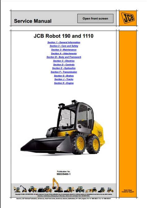 Jcb 190 1110 Robot Service Repair Workshop Manual